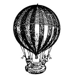 vintage engraving a a hot air balloon vector image