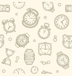 vintage hand drawn clocks and watches time vector image