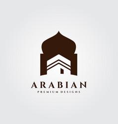 Vintage kaaba building logo islamic symbol design vector
