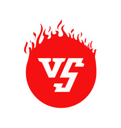 vs text and circle shape with fire frames red vector image