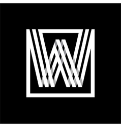 W capital letter made of stripes enclosed in a vector