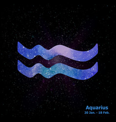 Watercolor sign of the zodiac aquarius on star vector