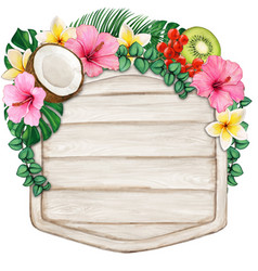 watercolor wooden vintage banner with tropical vector image