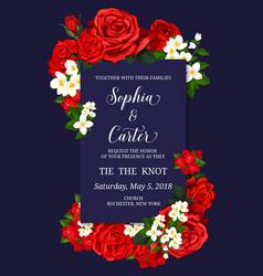 wedding ceremony invitation card with flower decor vector image