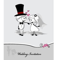 wedding couple on gray background vector image