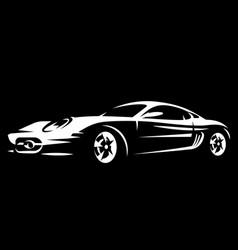 white sportcar on black background pattern vector image