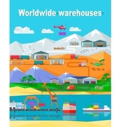 Worldwide Warehouse Design Flat vector image