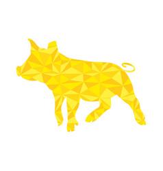 yellow pig golden piggy vector image