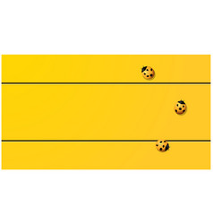 Yellow tone background with ladybugs vector