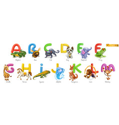 Zoo alphabet funny animals 3d icons set letters vector