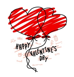 Hand drawn hearts balloon for valentines day vector