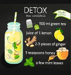recipe detox cocktail with green tea vector image vector image