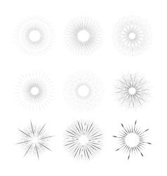 vintage rays burstings set vector image