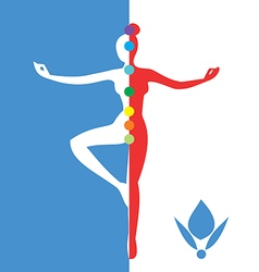 Woman silhouette in balance position vector image vector image