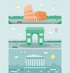cities skylines design with landmarks rome paris vector image