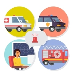 Emergency call center online support phone vector