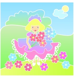 Little girl with flowers on the Meadow vector image