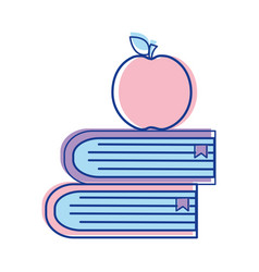School books with apple fruit icon vector