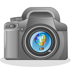 slr camera on a white background with the vector image