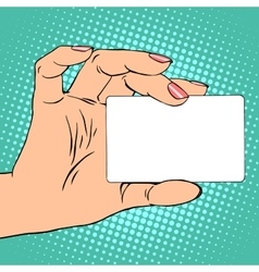 Business or credit card in female hand vector image