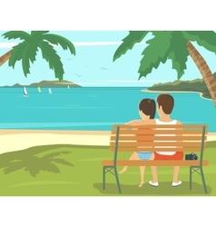 Honeymoon couple outdoors in the beach vector image vector image