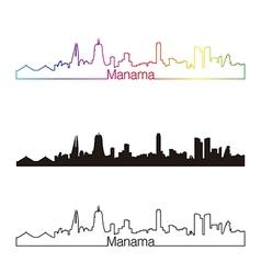 Manama skyline linear style with rainbow vector image vector image