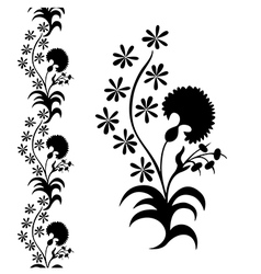 silhouette flower black pattern vector image