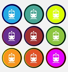 train icon sign Nine multi colored round buttons vector image