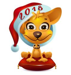 yellow dog in santa hat symbol 2018 vector image