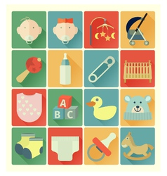 flat icons baby set vector image vector image