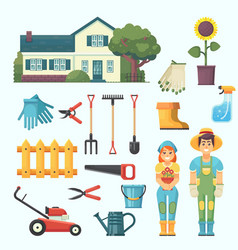 garden and orchard house garden tree tools vector image