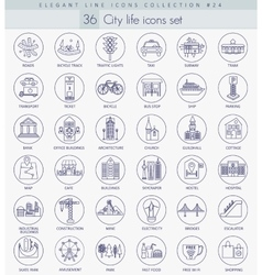 Modern city outline icon set Elegant thin vector image