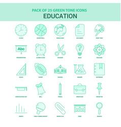 25 green education icon set vector