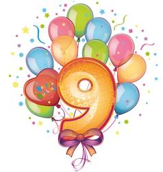 9 happy birthday vector