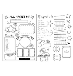 All about me School Printable vector