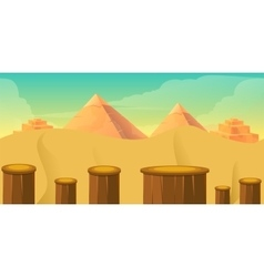 Arcade Game World Cartoon Desert with Blocks vector image