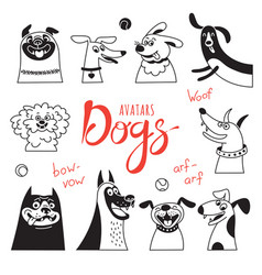 avatar dogs funny lap-dog happy pug cheerful vector image