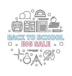 back to school big sale round outline vector image