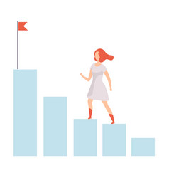 businesswoman moving up to her goal on column of vector image