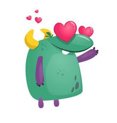 cartoon cool monster in love vector image