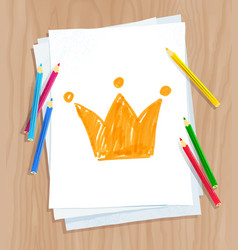 Child drawing of crown vector
