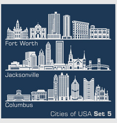 Cities usa - fort worth jacksonville columbus vector