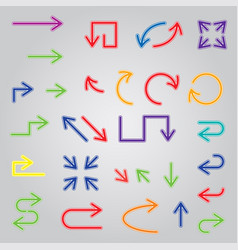 colored arrows set large collection icons vector image