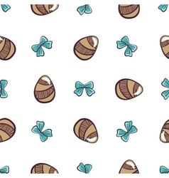 Colored Eggs And Blue Bows vector image
