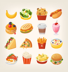 Colorful images of fast food vector