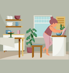 Cooking woman kitchen composition vector