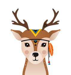 Cute deer have headdress with feathers on head vector