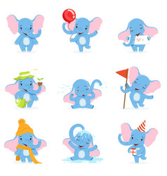 Cute elephant character set funny baelephant vector