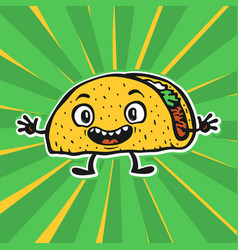 cute funny cartoon taco vector image