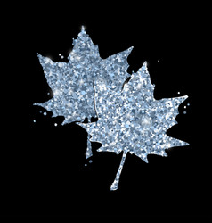 cute glitter maple leaves on black vector image